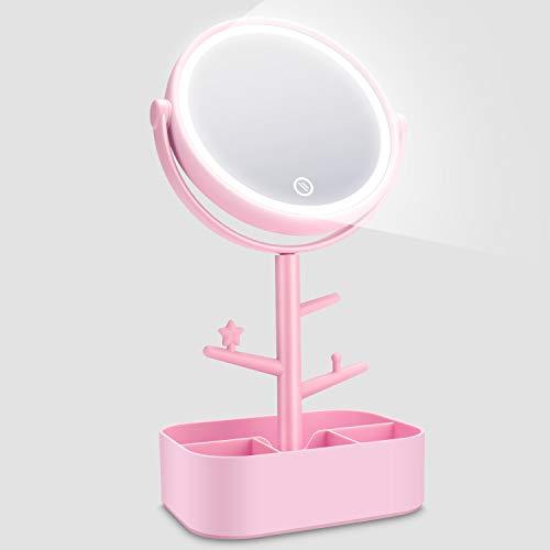 Kasimir Kosmetikspiegel mit Licht Schminkspiegel mit LED Beleuchtung Make Up led Reise Spiegel Batterie Via Touch-Screen Und...