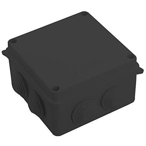 Caja de conexiones de plástico ABS, 100 x 100 x 70 cm, resistente al agua, IP55 (negro)