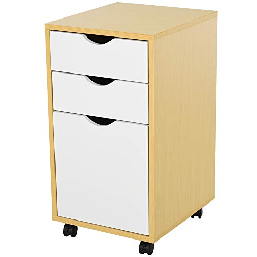 homcom Cassettiera Portadocumenti da Ufficio con Rotelle e 3 cassetti in Legno MDF Bianco e Color Legno, 35x40x65.5cm