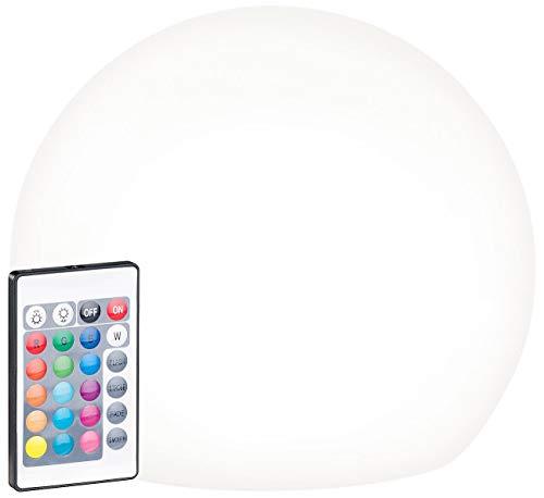 Lunartec Solarkugeln: Solar-LED-Leuchtkugel mit Fernbedienung, RGBW, 60 Lumen, IP67, Ø 20 cm (Solar Leuchtkugel Garten)