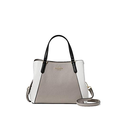 Kate Spade New York Purse Jackson Medium Triple Compartment Satchel (Soft Taupe/Pure White/Black)
