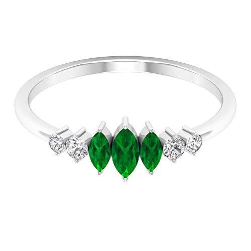 Anillo de mujer con forma de marquesa, 1/2 ct, certificado de esmeralda verde, HI-SI, diamante, piedra lateral, anillo de promesa de boda, 14K Oro rosa, Size:EU 67