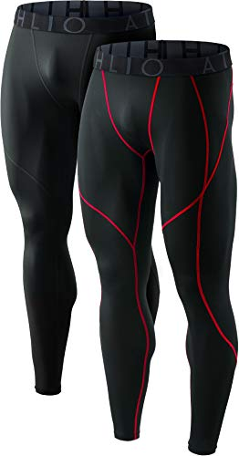 ATHLIO Mens Compression Pants Running Tights Workout Leggings, Cool Dry Technical Sports Baselayer, 2pack(blp05) - Black/Black Red, Large