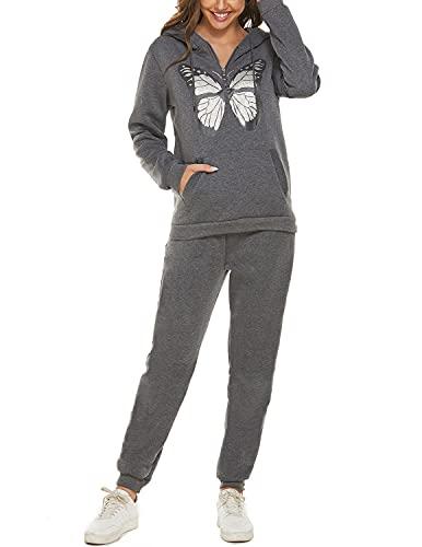 JENJON Mujer Conjunto de Chándal Chándal Mujer Completo 2 Piezas Estampado de Mariposas con Capucha + Pantalones Largos de Cintura Alta para Otoño Invierno Gris L