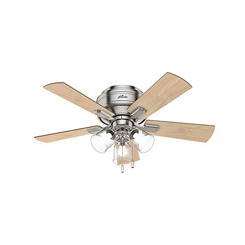 """Hunter Fan Company 52154 Crestfield Indoor Low Profile Ceiling Fan with LED Light and Pull Chain Control, 42"""", Brushed Nickel"""