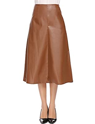 Women Casual Artificial Leather High Waist A-Line Pleated and Split Hem Solid Sexy Skirt