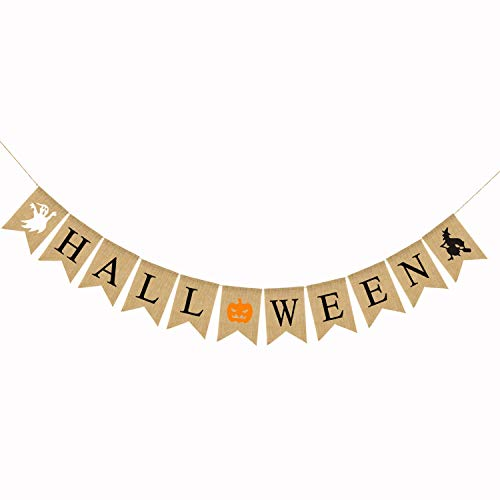 Halloween Decoration 5 Piece Halloween Banner Swallowtail Halloween Bunting Burlap Halloween Garland Party Supplies Home Hanging Photo Props Halloween Supplies (Color : Natural, Size : 250cm)