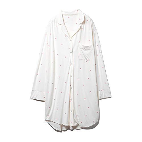 HUANSUN langärmeliges Hemd Nachthemd bequemes und einfaches Zuhause tragen dünnes Revers einteiliges Nachthemd, Elfenbein, Einheitsgröße