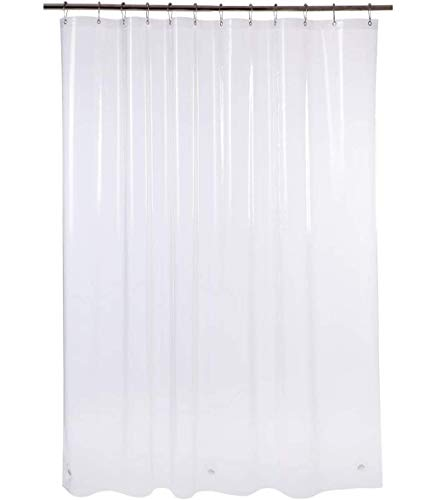 AmazerBath Plastic Shower Curtain, 72' W x 72' H EVA 8G Shower Curtain with Heavy Duty Clear Stones and 12 Grommet Holes Thick Bathroom Plastic Shower...