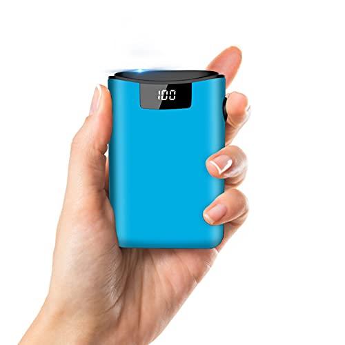 Powerbank 10000mAh Caricabatterie Portatile, LED Digitale Display, con 3 ingressi e 2 uscite, Ultra-Compact Mini Batteria Esterna Carica Veloce Batteria Portatile iPhone, Huawei, Smartphone (Blu)