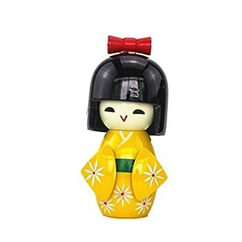 TOYANDONA Wooden Japanese Dolls Kimono Doll Toy Table Decorative Ornament for Store Home Office Bedroom - Random Hair Style