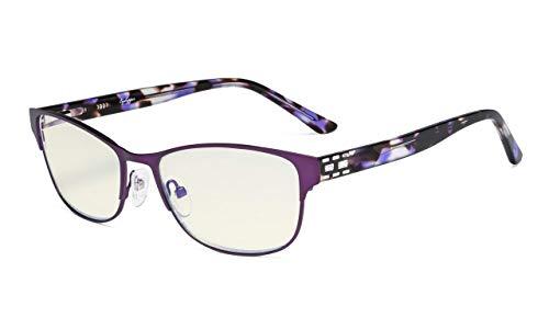 Eyekepper Computer-Brille,Blaulichtfilter,Stilvoller Kristall Brille Frauen,LILA+1.75