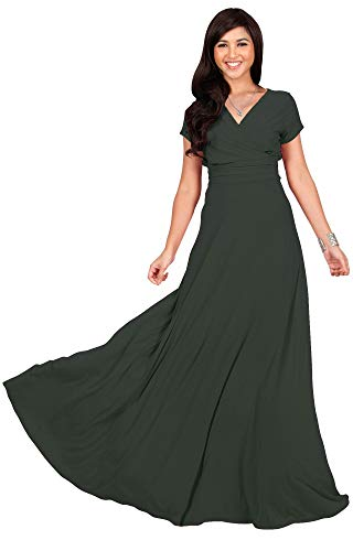 KOH KOH Womens Long Cap Short Sleeve V-Neck Flowy Cocktail Slimming Summer Sexy Casual Formal Sun Sundress Work Cute Gown Gowns Maxi Dress Dresses, Olive Green M 8-10