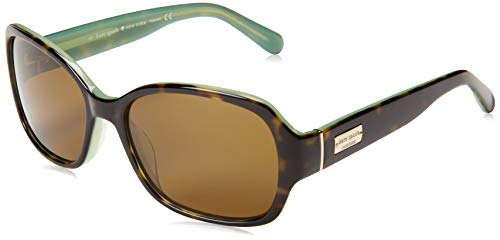 Kate Spade New York Women's Akira rectangular Sunglasses, Tortoise Mint Polarized, 54 mm