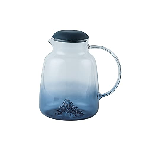 Jarra Agua Fria Gradiente de la Jarra de Vidrio Azul de la Jarra de la Jarra con el diseño del Iceberg Capa de Vidrio de Gran Capacidad con Tapa de Silicona Jarra de Agua Jarra Agua Detox Frutas