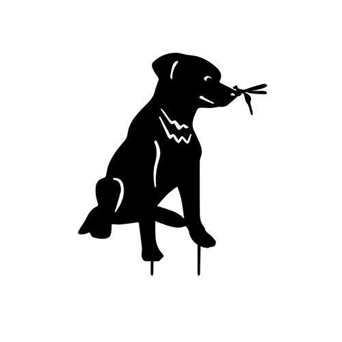 B/M Animal Silhouette Garden Stake, Metal Cat Dog Decorative Garden Stakes Black Puppy Dog Cat Shaped Yard Metal Art Lawn Outdoor Home Decor