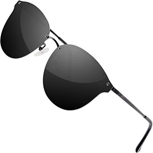 ATTCL Gafas de sol polarizadas de la lente de la protección UV del metal para las mujeres 1155 negro