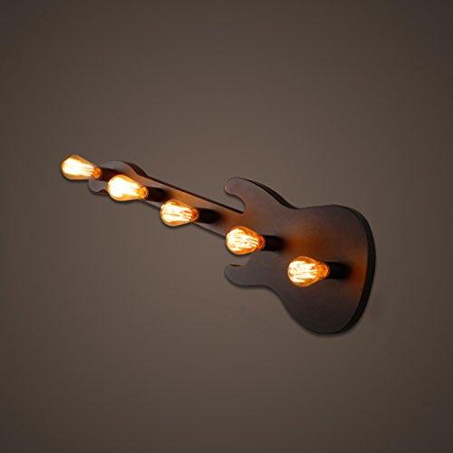 ZWL Loft Wall Lamp Creative Bar Bar Studio Lampe murale en fer Retro Nostalgic Living Room Study Art Lampes et lanternes 5 Head, E27, 31 * 90CM mode ( Couleur : Noir , taille : 31*90CM )