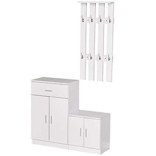 homcom Scarpiera con Appendiabiti a Combinazione per Ingresso e Camera da Letto Legno 100x32x187cm Bianco