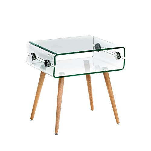 Arreditaly Tavolino Basso Salotto Soggiorno Sala da Pranzo Rettangolare in Vetro Temperato Curvato con Gambe in Legno Design Moderno Elegante Luxury Z-40, 50 x 40 x 40 Cm