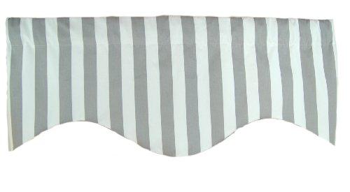 RLF Home Awning Stripe M Shaped Valance, Grey