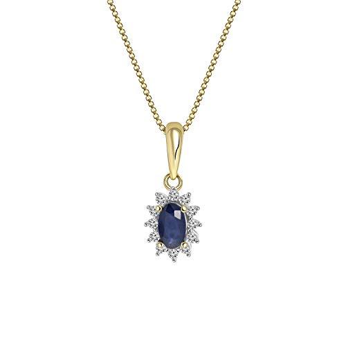 Diamond Luxury - 585 Gelbgold-Kette Saphir mit Diamant - für Damen - Gelb