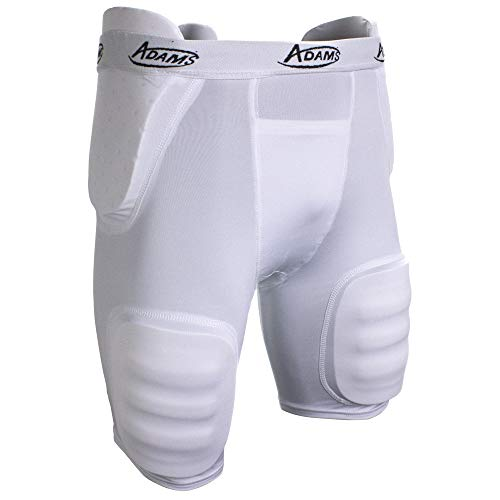 Adams High Rise Varsity All-in-One Football Girdle with Integraded Pads, Medium, White