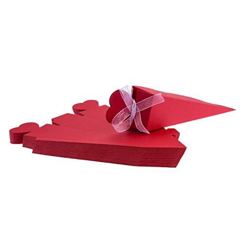 FLOWOW 50x Rosso Forma di Gelato Cono Coni portariso Scatola portaconfetti scatolina bomboniere segnaposto con Nastrino per Matrimonio Nozze Compleanno Battesimo Comunione Nascita Laurea Festa Natale