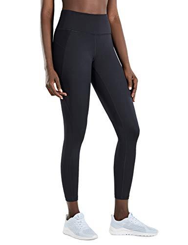 CRZ YOGA Mujer Compression Leggings Cintura Alta Deportivos Running Fitness Pantalon con Bolsillo-63cm Negro R424 42
