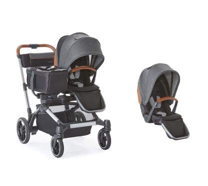 Contours Element Side-by-Side Single-to-Double Stroller with 2 Seats and Tote, Storm Grey