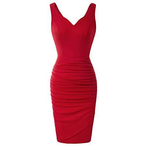 GRACE KARIN Damen Vintage Bleistiftkleid Pleated Rockabilly Kleid V-Ausschnitt Sexy Cocktail Kleid S Rot CLS02497-2