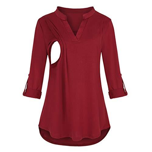 Camiseta de Lactancia Mujer Enfermería Camiseta Premamá Top Blusa de Maternidad Ropa de Manga Larga STRIR (XXL, Rojo#0911)