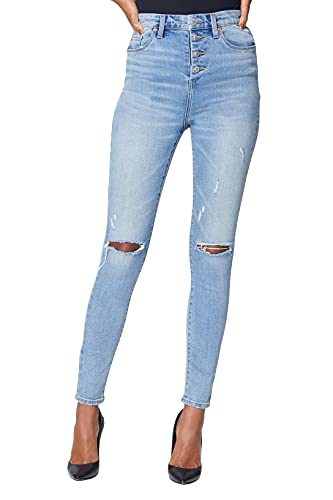 [BLANKNYC] Womens Sustainable Organic Denim High Rise Exposed Button Fly Jean with Rips at Knee, Fashionable & Stylish Pants, Lips Sealed, 29