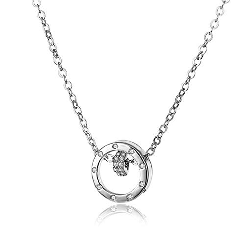 Collar de joyería de platino chapado en cobre Cadena de clavícula corta Hembra con incrustaciones de circón doble anillo colgante personalizado