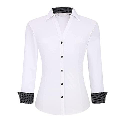 Damipow Womens Long Sleeve Button Down Dress Shirt Wrinkle Free Stretch Bamboo Shirts for Women Work Blouse,White,XL