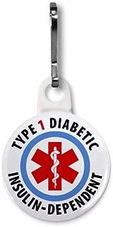TYPE 1 DIABETIC Insulin Dependent Medical Alert 1 inch White Zipper Pull Charm