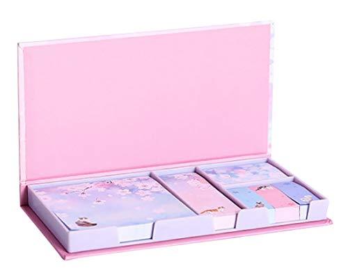 Plus Nao(プラスナオ) 付箋紙 ふせん 6個セット 文具 文房具 事務用品 メモ 桜 花 フラワー ネコ 猫 ピンク ブルー パープル かわいい おし - サクラ×パープル