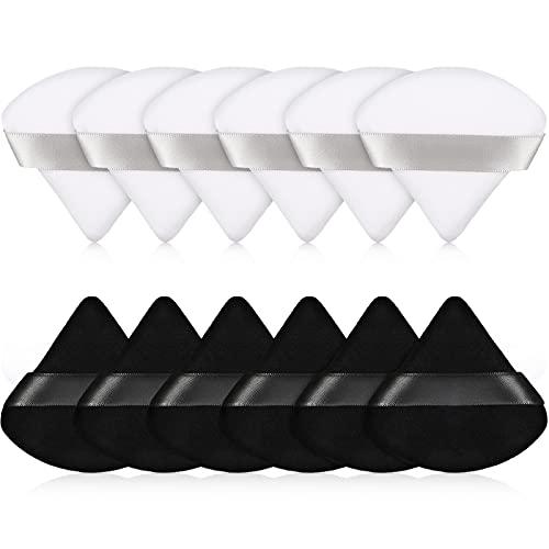 12 Almohadillas de Polvos de Algodón Puff de Maquillaje de Triángulo Facial para Polvo Suelto Esponja de Base Cosmética de Cuerpo Herramienta de Maquillaje en Seco Húmedo en Polvo Mineral