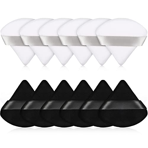 12 Pieces Powder Puff Face Triangle Makeup Puff for Loose Powder Soft Body Cosmetic Foundation Sponge Mineral Powder Wet Dry Makeup Tool (Black and White)