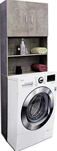 Etnicart - Mobile per lavatrice asciugatrice 64(L) x26x190cm colore cemento in legno armadietto alto bagno cucina water mobile wc-