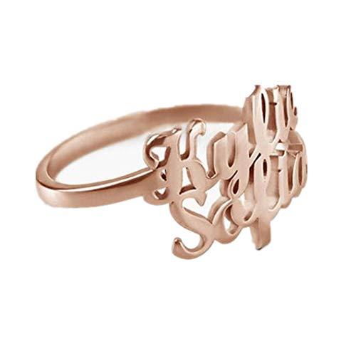 Y.Verve Regalo Personalizado Grabados Anillos para Mujeres Promise Love Anniversary Jewelry(17-Oro Rosa)