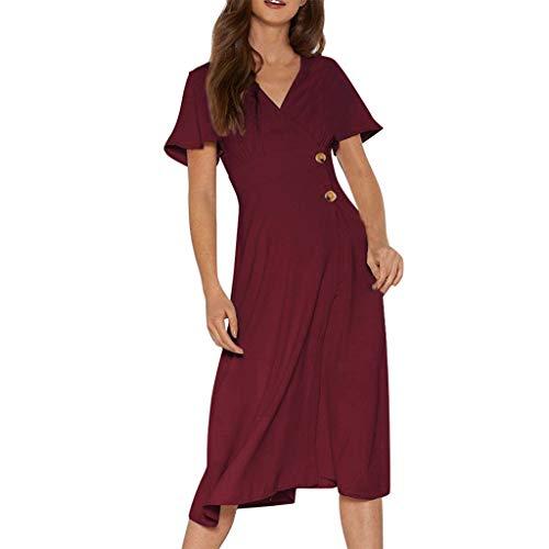Muyise Sommer Damen Kurzarm Taille langes Kleid V-Ausschnitt Knopf lässig Temperament hochwertige Reife Elegantes Kleid Sommerkleider(Wein,XL)