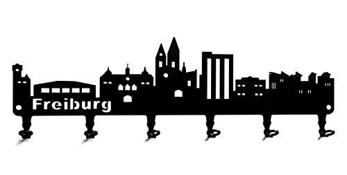 steelprint.de Schlüsselbrett/Hakenleiste * Skyline Freiburg * im Breisgau, Baden-Württemberg, Wandhaken, Schlüsselleiste, Metall - 6 Haken - schwarz