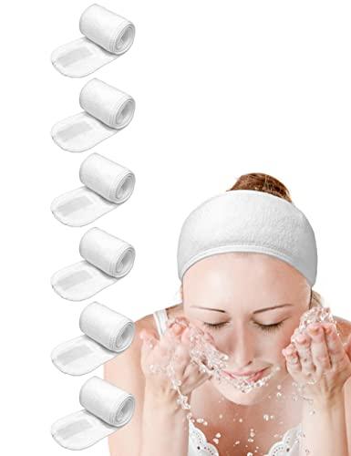 Spa Headband Hair Wrap EUICAE Sweat Headband Head Wrap Hair Towel Wrap Non-slip Stretchable Washable Makeup Headband for Face Wash Facial Treatment Sport Fits All White (6 pack)