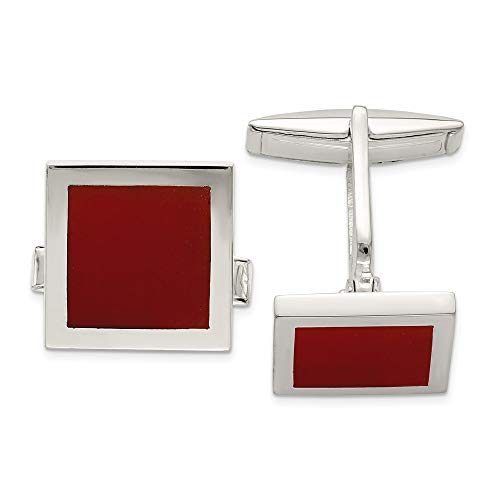 925 Sterling Silver Red Agate Cuff Links Mens Cufflinks Link Man Fine Jewelry For Dad Mens Gifts For Him