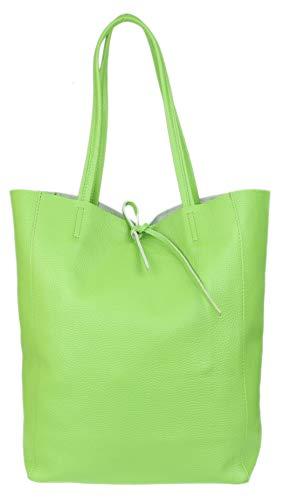 Girly Handbags Open Top Genuine Leather Handbag (Light Green)