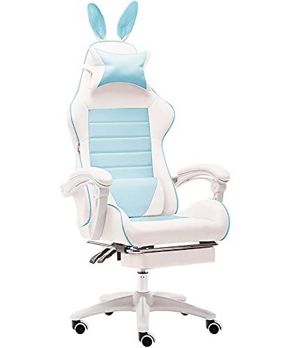 GPAIHOMRY Silla de videojuegos, de piel sintética, para ordenador, escritorio, oficina, reclinable, con reposapiés retráctil, perfecto para mujeres y niñas