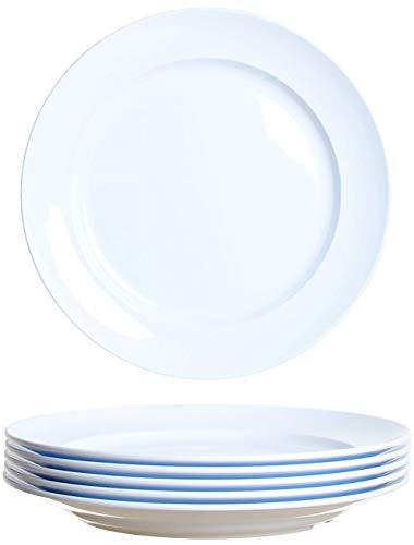 idea-station Gastro plastic plaat 6 stuks, 24 cm, wit, herbruikbaar, onbreekbaar, rond, plastic borden, bordenset, campingborden, kinderborden, plastic schalen, feestschalen, camping schalen