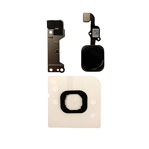 COHK Home Tasto Flex Cavo Assemblaggio con Anello di Gomma Parte di Ricambio per iPhone 6s e 6s Plus (Nero)