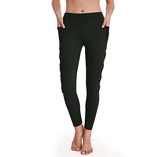 BAIDEFENG Mujeres Pantalones de Yoga Alta Elasticidad Ajustado Deportes Deportes de Cintura Alta de Cintura para Correr Pantalones de Cadera de Secado rápido Gimnasio Leggings-Negro_Pequeño